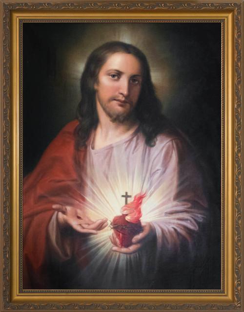 Austrian Sacred Heart Gold Framed Art