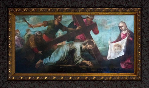 Veronica Wiping the Face of Jesus - Ornate Dark Framed Art
