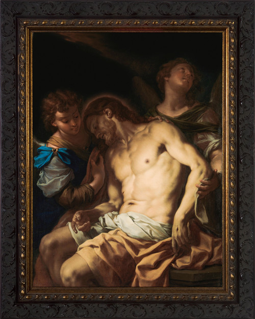 Dead Christ Supported by Angels by Francesco Trevisani - Ornate Dark Framed Art