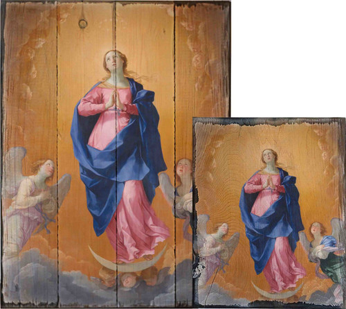 The Immaculate Conception by Guido Reni Rustic Wood Plaque
