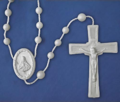 Economy White Plastic Corded Rosary