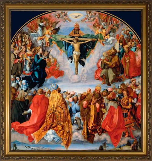 Adoration of the Trinity by Albrecht Durer - Gold Framed Art