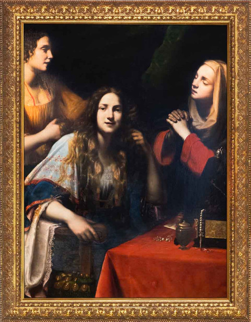 Martha Reproaching Mary Magdalene by Francesco Lupicini - Gold Framed Art