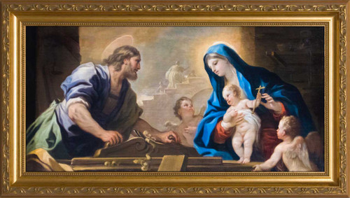 Holy Family with Joseph at the Workbench by Luca Giordano - Standard Gold Framed Art