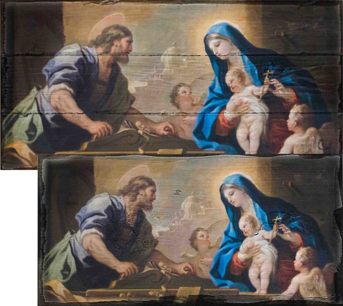 Holy Family with Joseph at the Workbench by Luca Giordano Rustic Wood Plaque