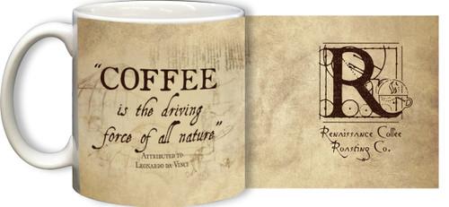 Leonardo da Vinci Driving Force Quote Mug