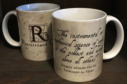 Leonardo da Vinci Science of Coffee Quote Mug