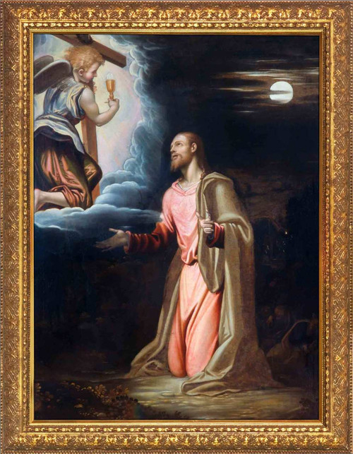 Christ in the Garden by Simone Peterzano - Gold Framed Art