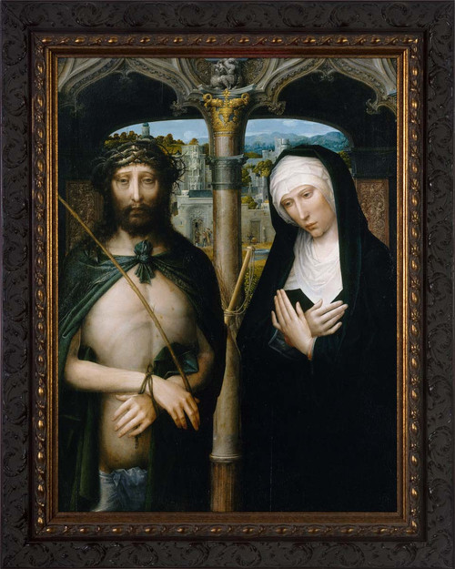 Christ Crowned with Thorns, and the Mourning Virgin by Adriaen Isenbrant - Ornate Dark Framed Art