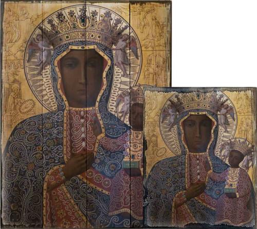 Black Madonna of Czestochowa Rustic Wood Plaque