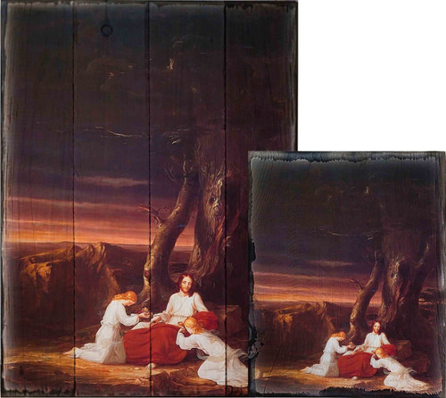 Angels Ministering to Christ in the Wilderness by Thomas Cole Rustic Wood Plaque