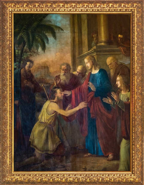 Christ Healing the Blind Man - Gold Framed Art
