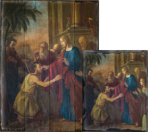 Christ Healing the Blind Man Rustic Wood Plaque