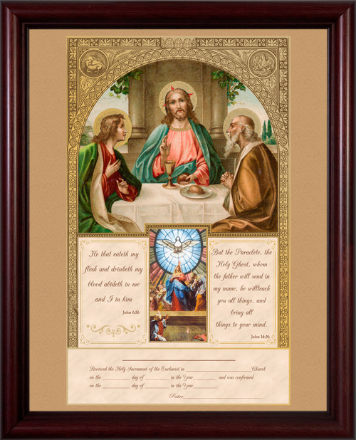 First Communion and Confirmation Certificate with Gold Accents in Cherry Frame