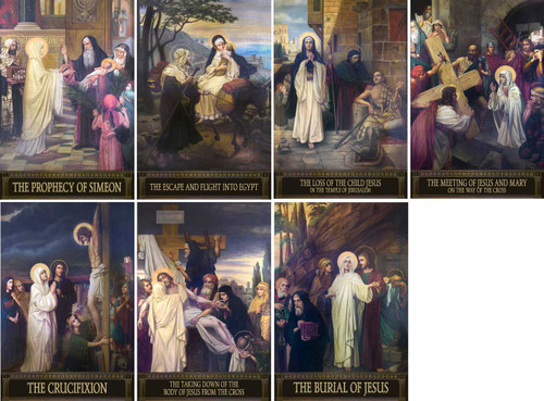 The Seven Sorrows of Mary Indoor Outdoor Aluminum Prints (Set of 7)