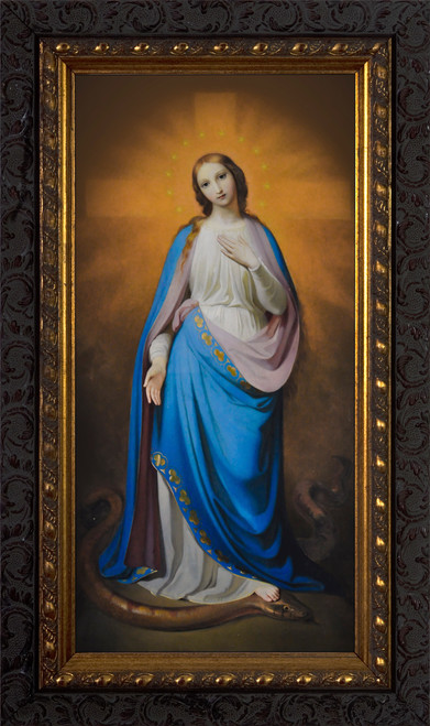 Virgin Victorious by Melchior Paul von Deschwanden - Ornate Dark Framed Art