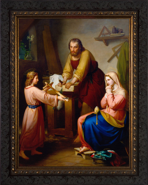 The Holy Family by Rafael Flores - Ornate Dark Framed Art