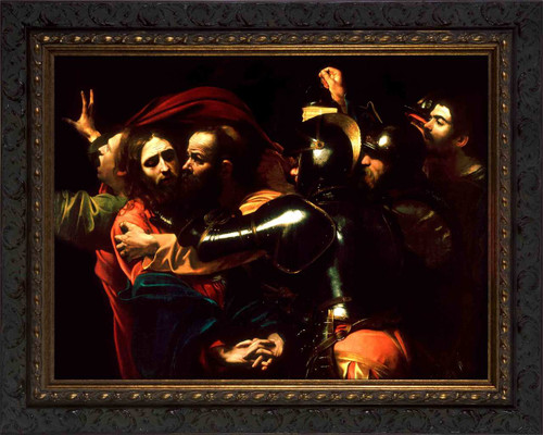 The Taking of Christ by Caravaggio - Ornate Dark Framed Art