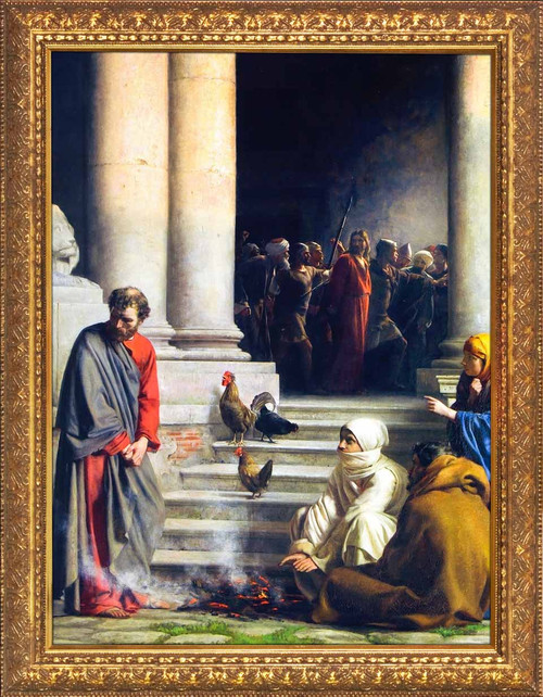 The Denial of Peter by Carl Bloch - Gold Framed Art