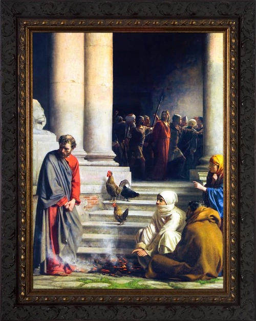The Denial of Peter by Carl Bloch - Ornate Dark Framed Art