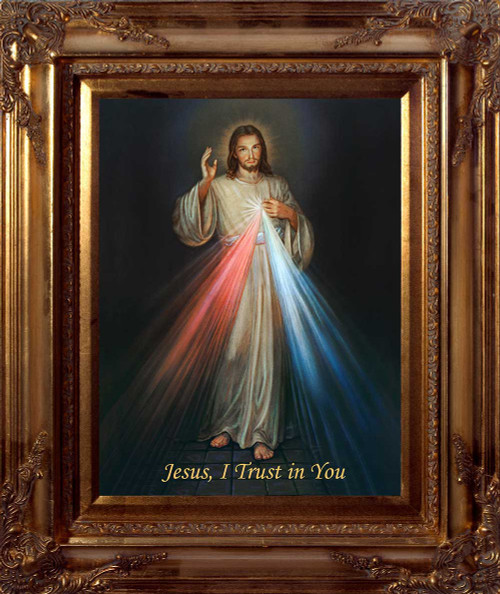 Divine Mercy - Gold Museum Framed Canvas