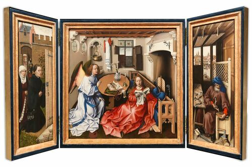 Annunciation Triptych - Merode Altarpiece by The Workshop of Robert Campin Triptych Plaque