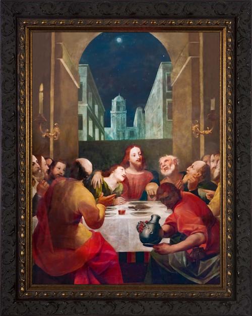 Last Supper at Moonrise - Ornate Dark Framed Art