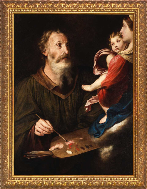 Saint Luke Painting the Virgin by Simone Cantarini - Gold Framed Art