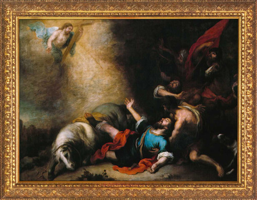 The Conversion of Saint Paul by Murillo - Gold Framed Art
