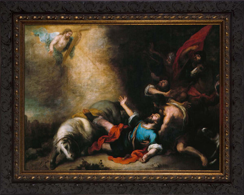 The Conversion of Saint Paul by Murillo - Ornate Dark Framed Art