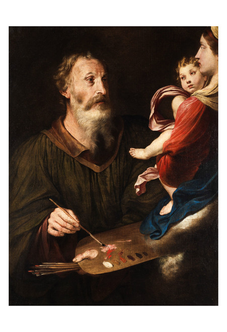Saint Luke Painting the Virgin by Simone Cantarini Print