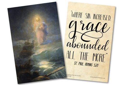"""Where Sin Increased"" St. Paul Quote Holy Card"