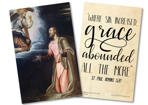 """Where Sin Increased"" Garden of Gethsemane St. Paul Quote Holy Card"