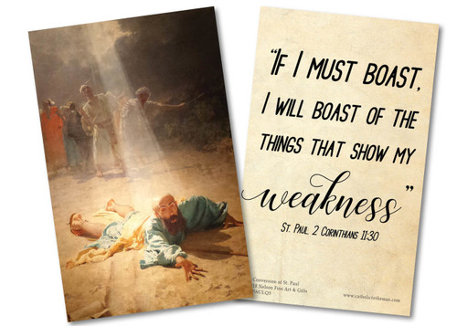 """""""If I Must Boast"""" St. Paul Quote Holy Card"""