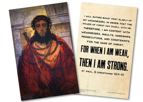"""""""I Will Rather Boast Most Gladly"""" St. Paul Quote Holy Card"""