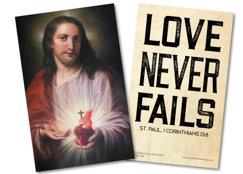 """""""Love Never Fails"""" St. Paul Quote Holy Card"""