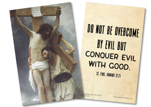 """""""Do Not Be Overcome"""" St. Paul Quote Holy Card"""