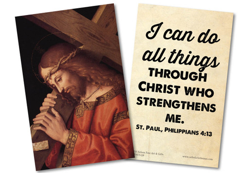 """""""I Can Do All Things"""" St. Paul Quote Holy Card"""