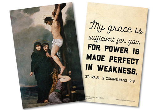 """""""My Grace is Sufficient"""" St. Paul Quote Holy Card"""