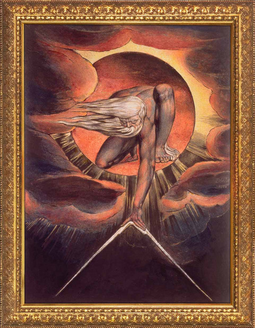 Ancient of Days by William Blake - Gold Framed Art