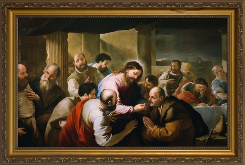 The Communion of the Apostles by Luca Giordano - Standard Gold Framed Art