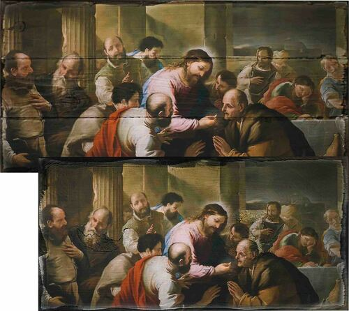 The Communion of the Apostles by Luca Giordano Rustic Wood Plaque