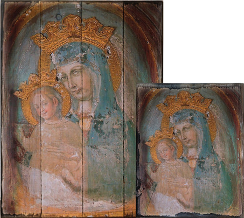 Mater Ecclesiae - Original Unrestored Rustic Wood Plaque