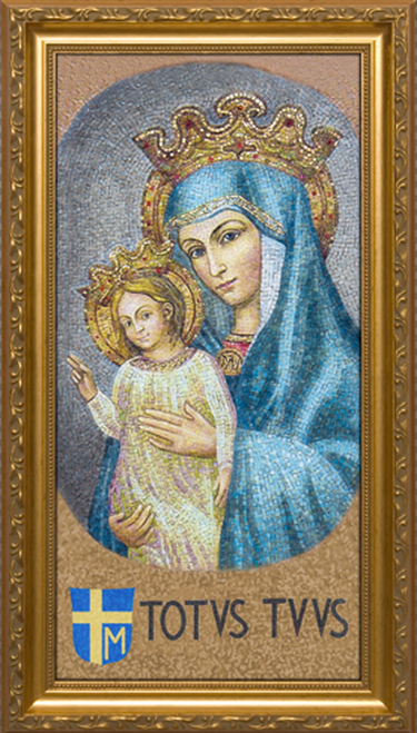 Mater Ecclesiae - Mosaic with Totus Tuus - Standard Gold Framed Art