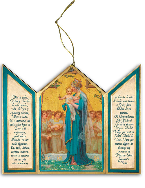 Spanish Madonna and Child by Enric M. VidaL Triptych Wood Ornament