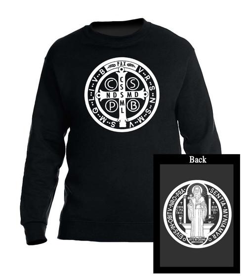 Benedictine Medal Black Crewneck Sweatshirt