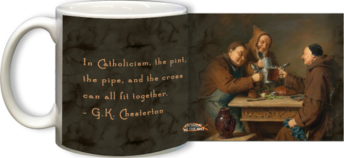 G.K. Chesterton Pint, Pipe and Cross Quote Mug