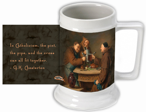 "G.K. Chesterton ""Pint, Pipe, and Cross"" Quote Beer Stein"