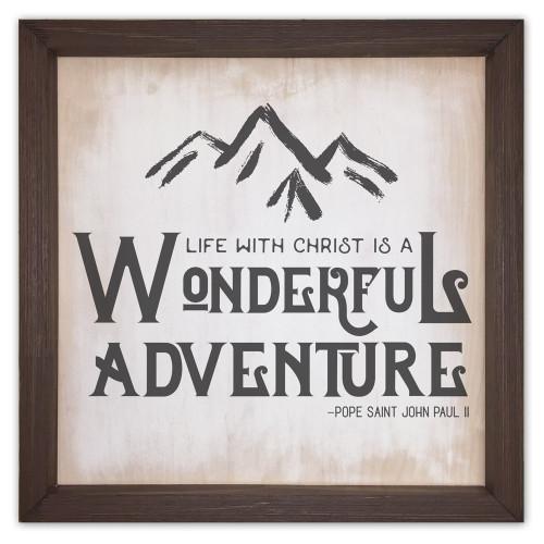 """Wonderful Adventure"" Rustic Framed Quote"