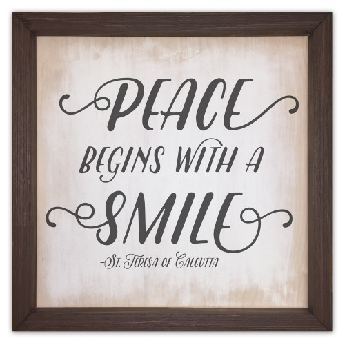 """""""Peace Begins"""" Rustic Framed Quote"""